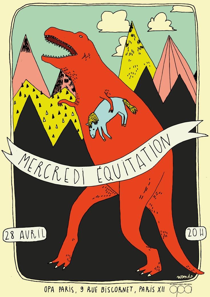Mercredi Équitation print by wandalovesyou DINO