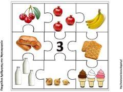 Puzzelen met hoeveelheden voedsel. De kinderen leren het aantal objecten te herkennen. Voorbereiding op het rekenen. Puzzel van het getal 3.