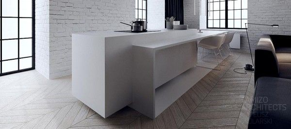 Interior. Black and white combination of room: Extraordinary Block White Kitchen Island With Wooden Parquet Also Wndow Grille Along With Black Curtain ~ Esspey
