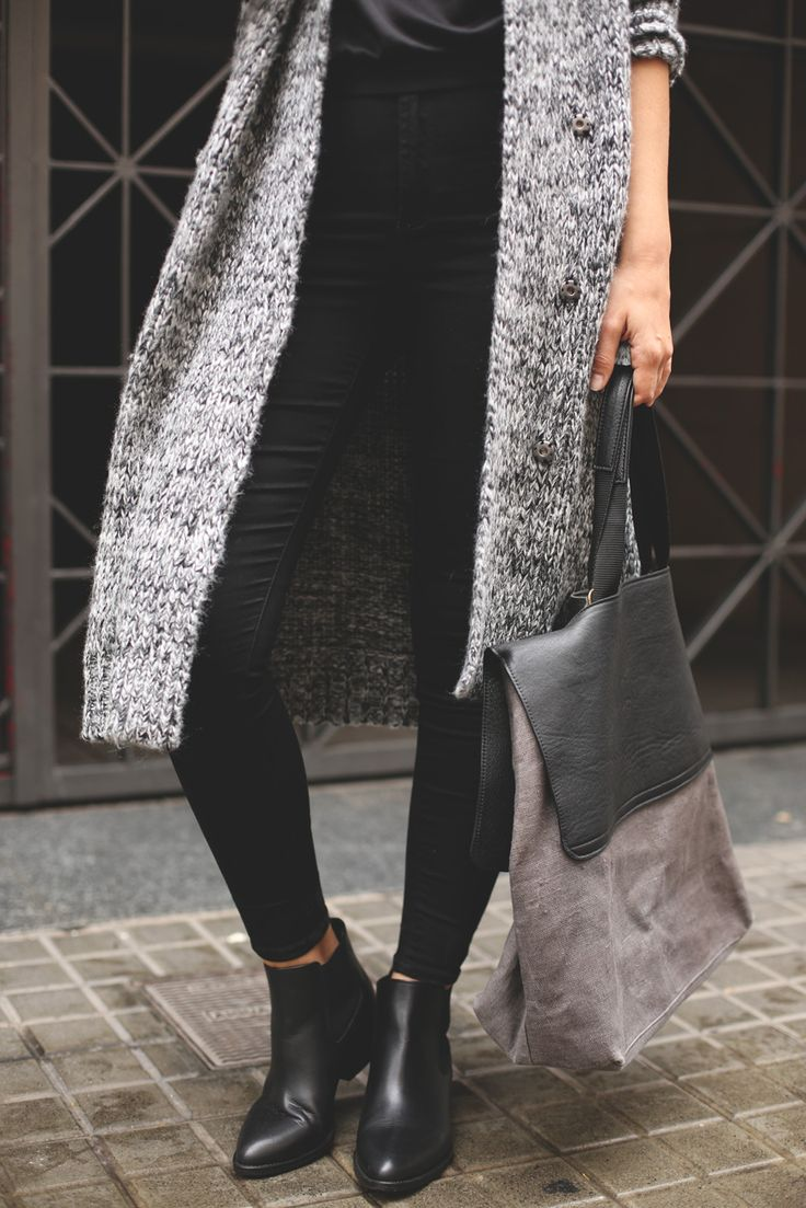 Long grey cardigan http://rstyle.me/n/rk3ye4ni6 and black ankle boots http://rstyle.me/n/tqa6n4ni6