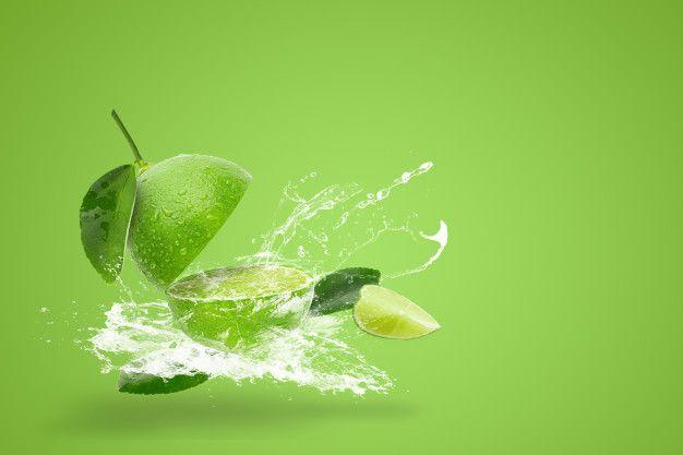 Water Splashing On Fresh Green Lime Isolated On Green Background Green Backgrounds Poster Background Design Fresh Green