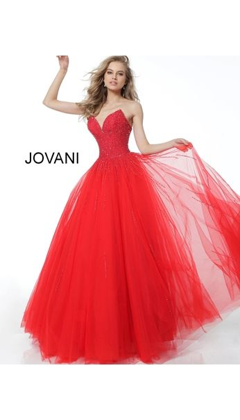 160d01009c Red tulle strapless ballgown with embellished v-point shaped sweetheart  bodice
