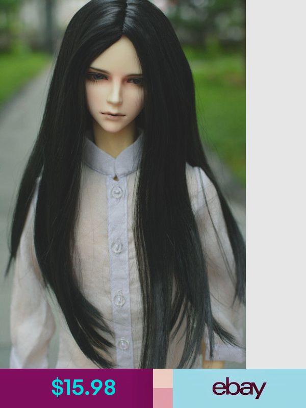 "7-8/"" 1//4 BJD Black Straight Long Wig LUTS Doll SD DZ DOD MSD Buckle Tips Hair U3"
