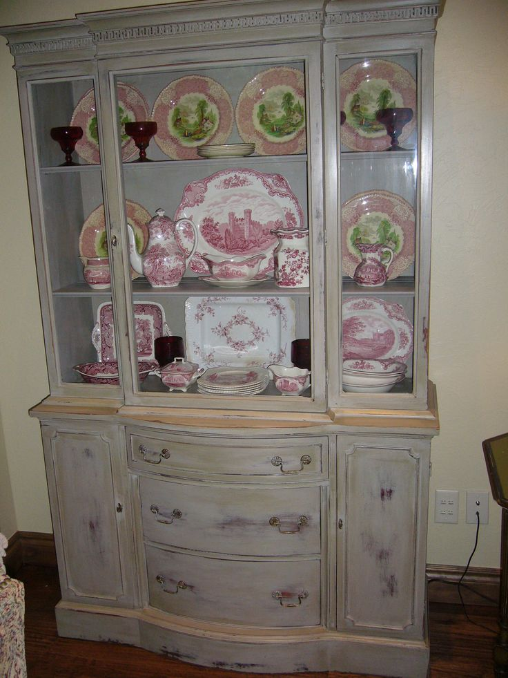 Mahogany Painted And Distressed Gray China Cabinet Filled