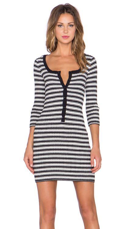 For Love & Lemons Ziggy Button Up Dress in Black & White | REVOLVE