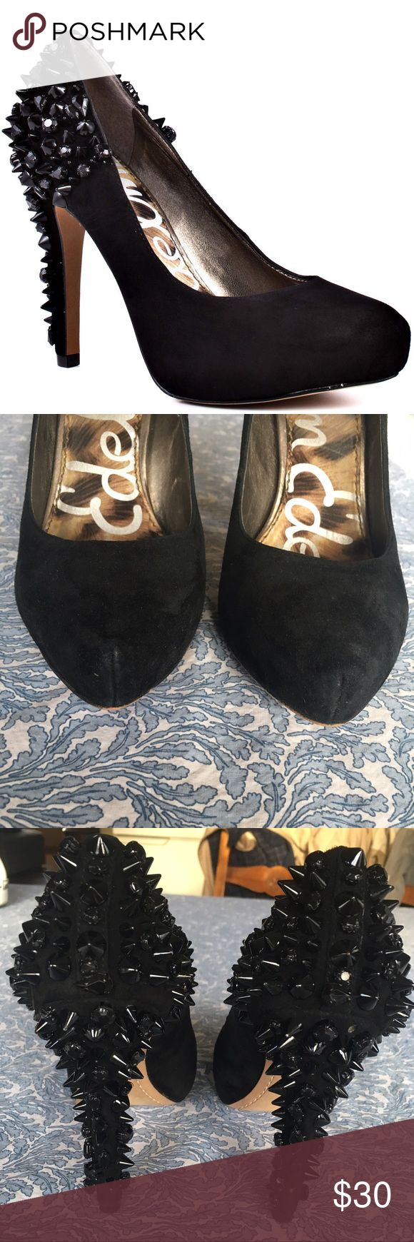 Sam Edelman Roza spiked suede platform pumps Amazing amazing statement shoe!! Lots of life left. Missing 1 spike. Some wear/scuffs to the exterior that I haven't tried to clean. Sam Edelman Shoes Heels