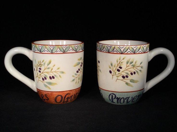 "Set Of 2 Sakura ""les Olives"" Sage Teal Orange Tea Cup Coffee Mugs - Ship!"