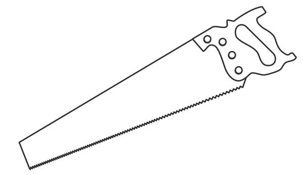 Black and white drawing of a common hand saw.