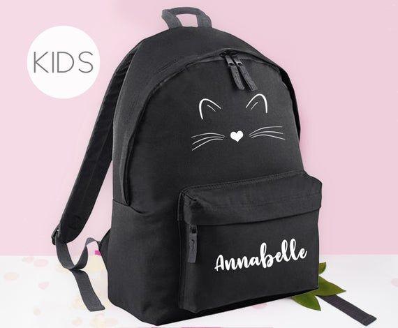Personalised Kids Backpack Cute Cat Purple
