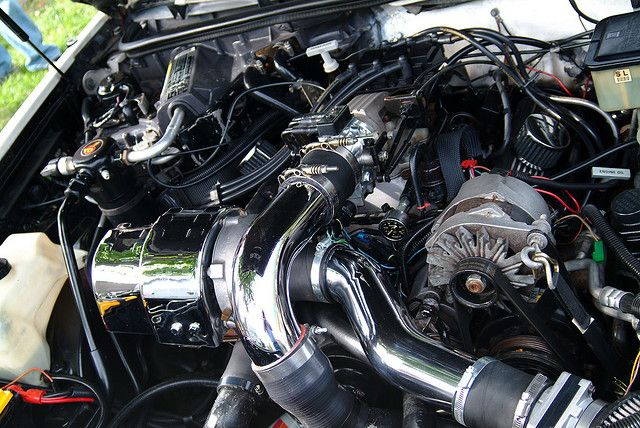 1987 Buick 3.8 Grand National turbo with beautiful chrome intake components and turbo shield.