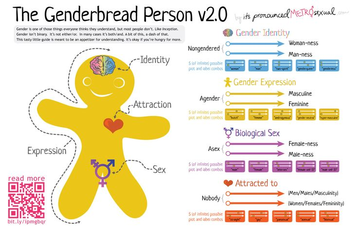 Explanations of Biological Sex, Gender Identity, Gender Expression, and Sexual Orientation! The Genderbread Person v2.0 as seen on itspronouncedmetrosexual.com