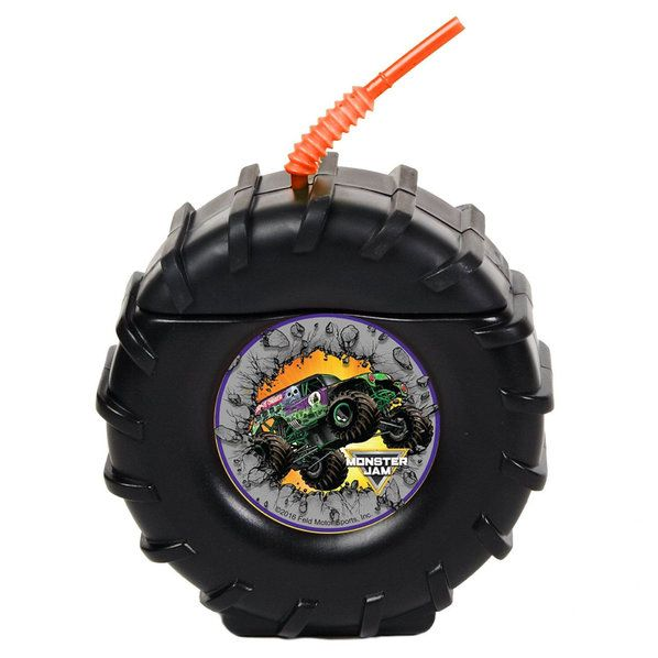 Check out Tire Molded Cup with Monster Jam Sticker (Each) from Wholesale Party Supplies