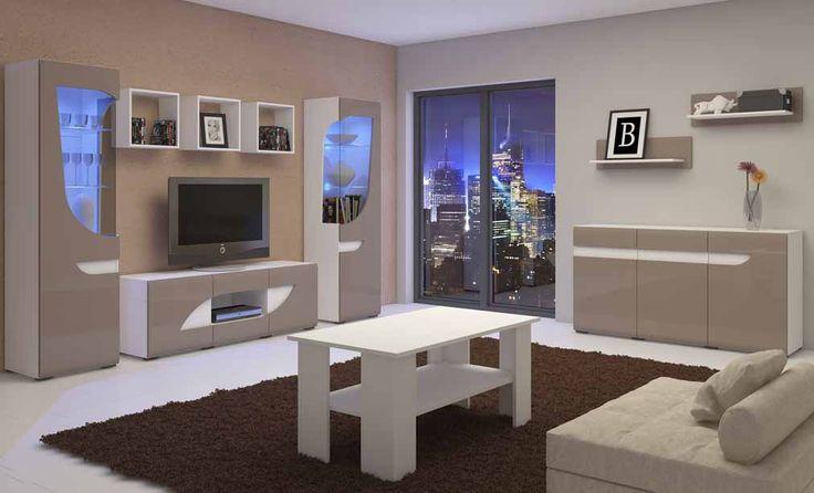 BRYZA nowoczesne meble do salonu w beżowym kolorze frontów , wysoki połysk