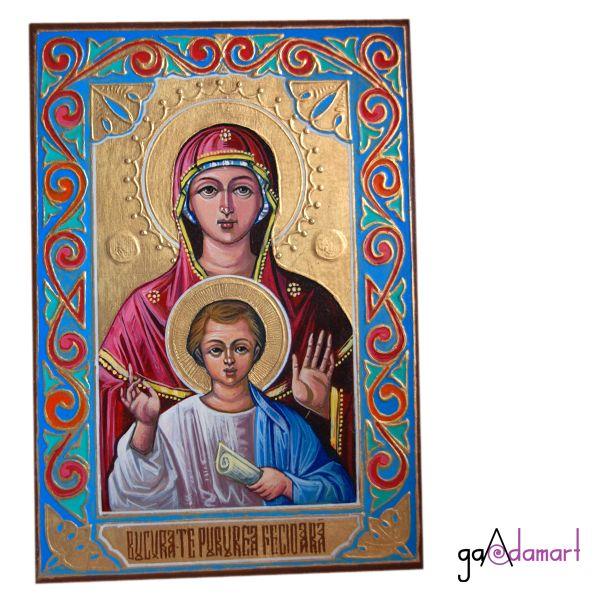 Icoana unicat pictata pe lemn cu foita de schlagmetal aurie, reprezentand-o pe Maica Domnului cu Pruncul
