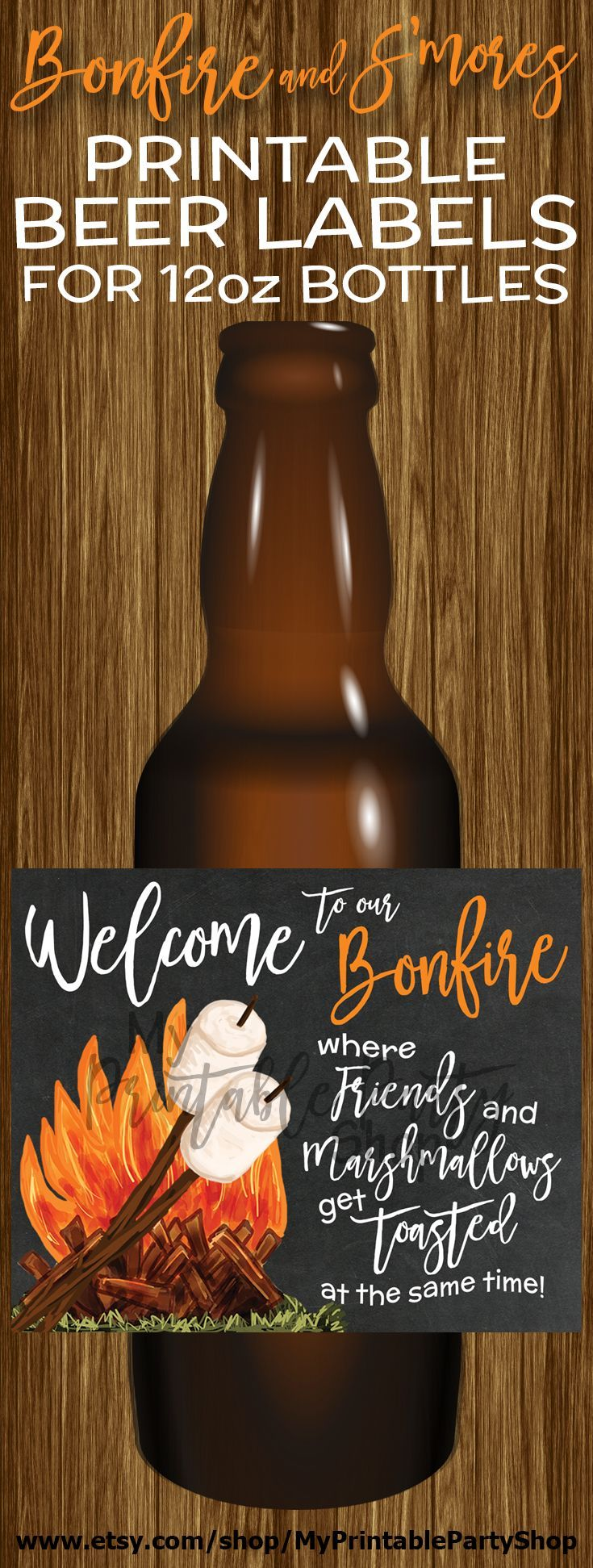 PRINTABLE Beer Labels, Beer Bottle Labels, Custom Beer Labels, S'mores Party, Bonfire Party, Outdoor Party, Backyard Party, Bachelor Party, Couples Shower, Engagement Party, Wedding Reception, Adullt Birthday Party, Anniversary https://www.etsy.com/ca/listing/467568060/printable-beer-labels-beer-bottle-labels