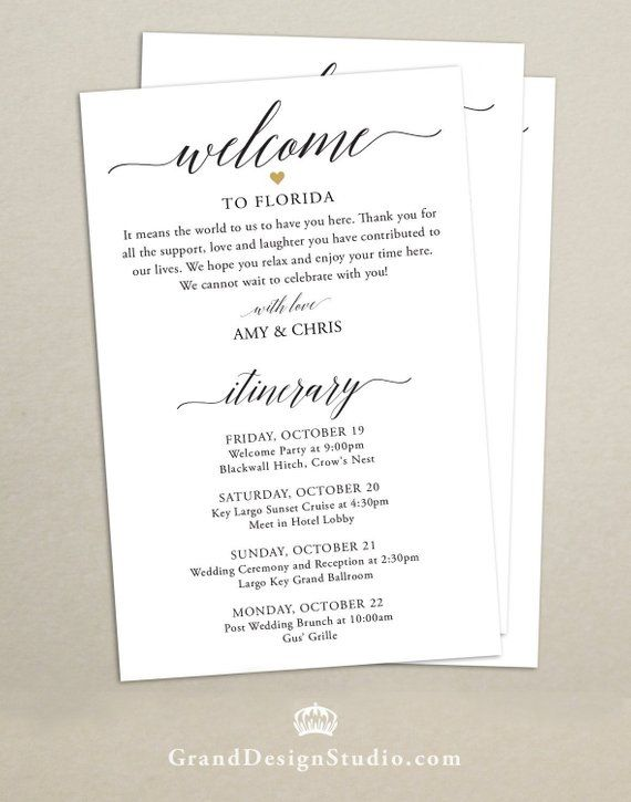 Personalized Itinerary Cards For Wedding Hotel Welcome Bags