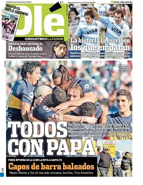 Domingo 26 de Agosto del 2012. http://www.ole.com.ar/la-tapa/