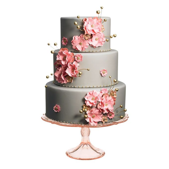 tiered gray wedding cake with pink flowers