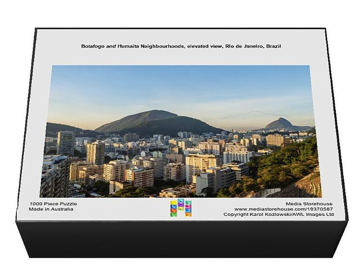 1000 Piece Jigsaw Puzzle. Botafogo and Humaita Neighbourhoods, elevated view, Rio de Janeiro, Brazil. . Image supplied by AWL Images