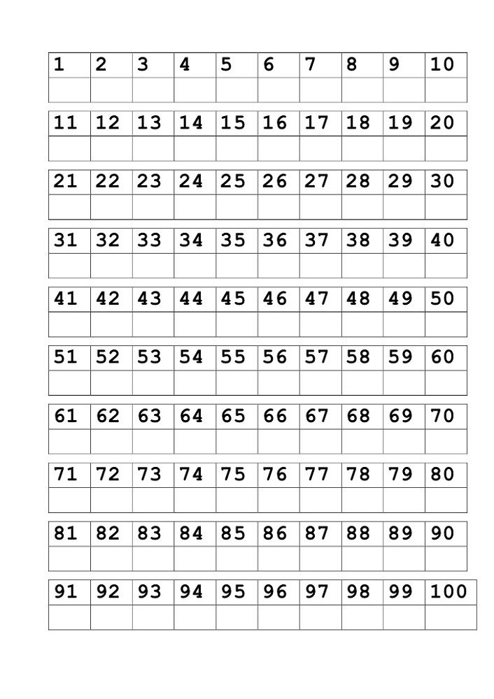 Writing Number Worksheets 1 100