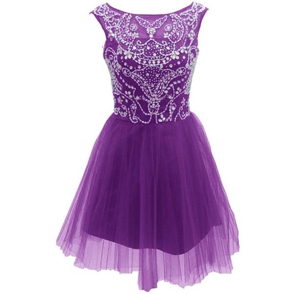 Dressystar Short Sparkling Illusion Neck Prom Reception Homecoming... ($90) ❤ liked on Polyvore featuring dresses, purple prom dresses, short length dresses, short prom dresses, short dresses and short sparkly dresses