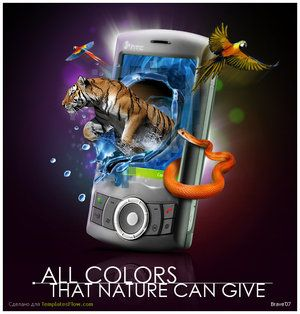 """This image is designed for middle class people. The slogan """"All colors that nature can give"""" suggest that the quality of the screen is very high. This slogan would attract movie lovers that they want the screen to be realistic as possible.   The image of the phone where the animals from the screen came into real life suggest that it is a 3D screen. This will attract game lovers as well."""