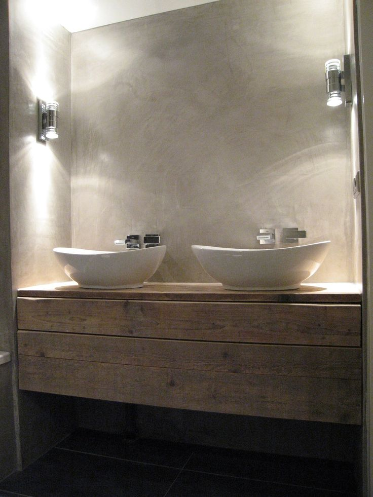 Combinatie mortex met hout en andere materialen. Liever niet vloer, muur en alle meubelen in mortex.