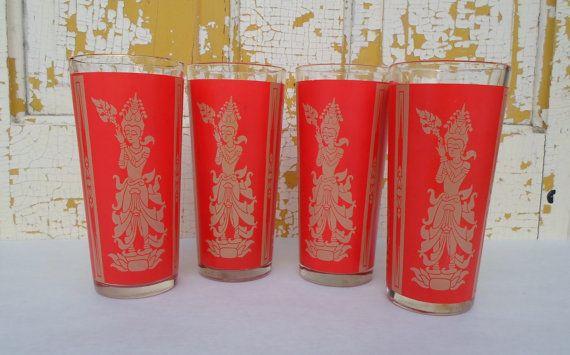 Vintage Set of Four 16 oz. Asian Inspired Glasses Red & Gold Bar Glasses Barware Drink Glass Mid Century Modern. $22.00, via Etsy.