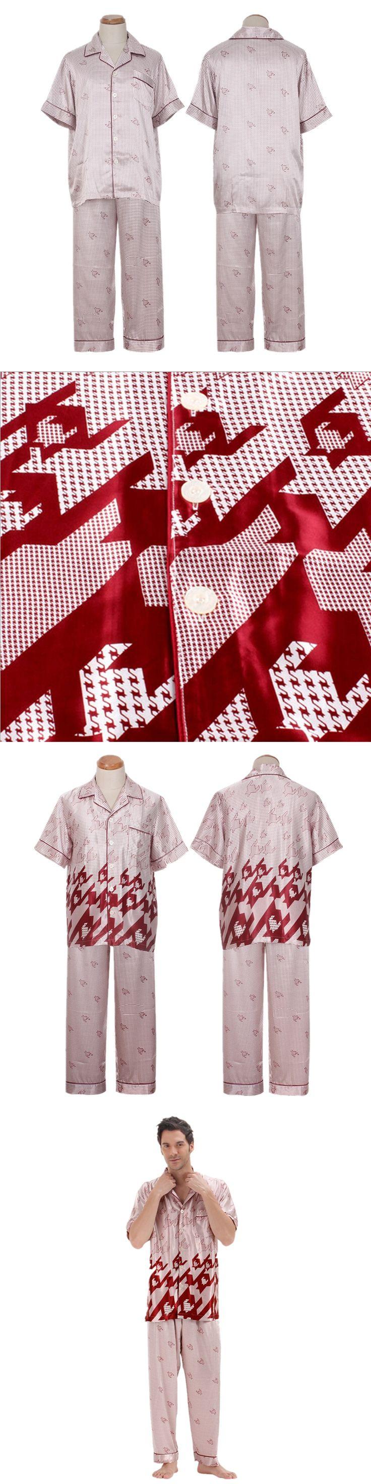 Luxury Short Sleeved Silk Satin Pajamas for Men Sleepwear Summer Pajama Pyjamas PJS Sleepwear Sleepcoat Set