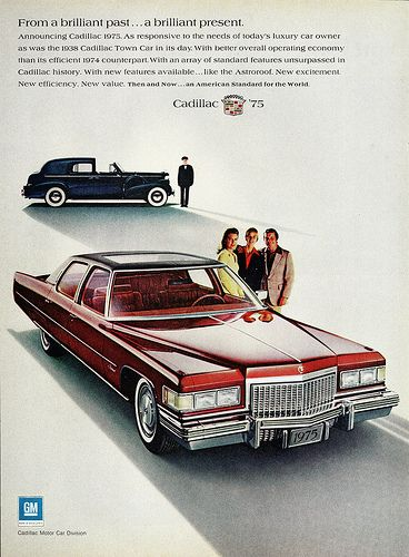 1975 Cadillac Fleetwood Brougham & 1938 Town Car advertisement.
