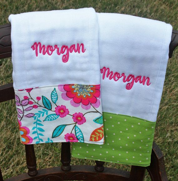 Burp Cloth Set Monogrammed Burp Cloth Set Personalized Burp