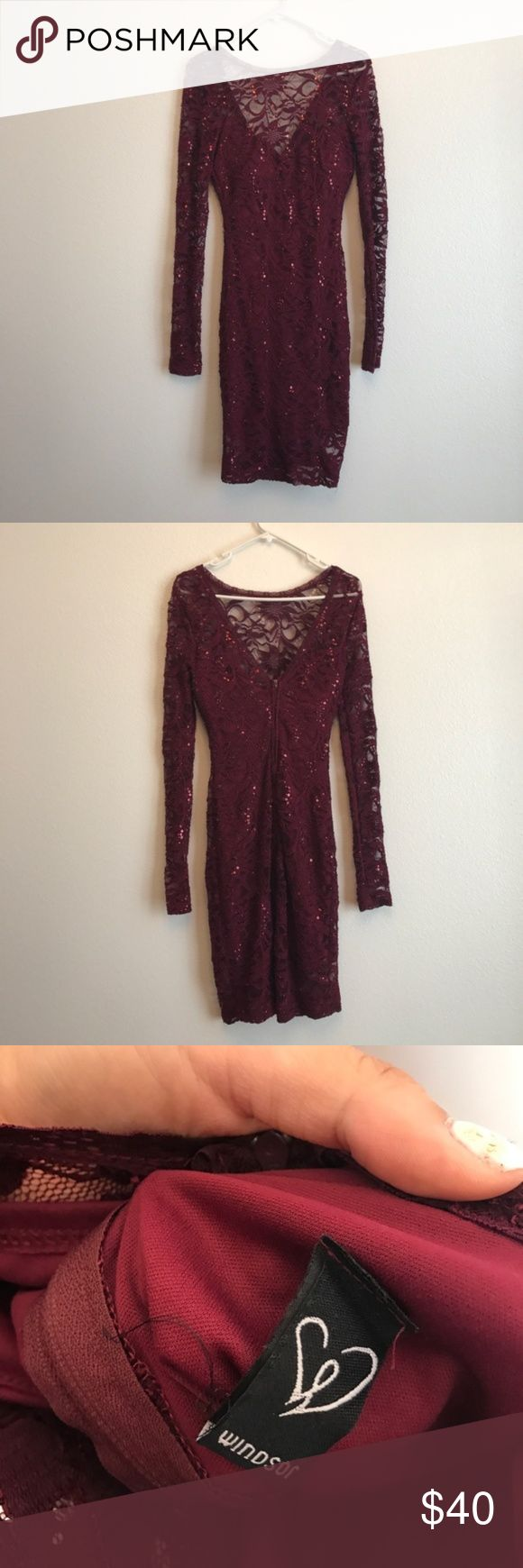 Windsor Plum Special Occasion Dress Worn once, great condition, zip back, lace sequins detailing, long sleeve, padded built in bra, double layered(dress is lined). Bust is 15.5in (it's also slightly stretchy) and length is about 36in. Size 5/6. 40% polyester, 55% Nylon, 5% Spandex. Lining 100% Polyester.  Keywords: Windsor, plum, maroon, red, dress, party, new years, wedding, fun, summer, sexy, boat neck, unique, made in USA, club dress, short dress, cocktail dress, prom dress, homecoming…