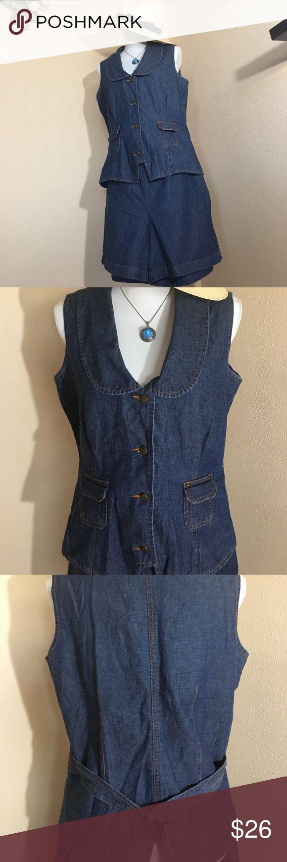 FORENZA-Blue Jean VEST/SHORTS 12 $26 Really Stylish Cute Blue Jean short set FORENZA Shorts Jean Shorts