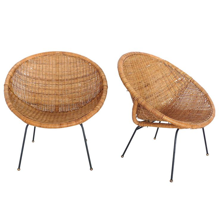 Woven Wicker and Iron Bucket Chairs | From a unique collection of antique and modern chairs at https://www.1stdibs.com/furniture/seating/chairs/