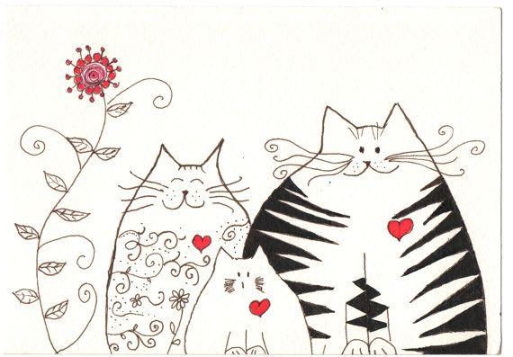 Desenho a tinta  família de gatos  original by Coloraudia on Etsy, $14.00
