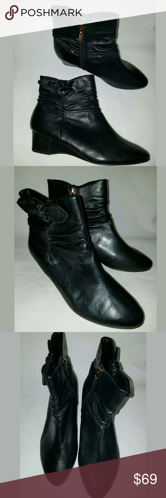 Antia Ankle Boots Size 8W Soft Leather Pointed Toe Antia Ankle Boots Women's Size 8 Wide Soft Leather Pointed Toe Bow Side Zip Black ---Excellent used condition.  Leather boots. Side zip.  1.5 inch wedge heels.    LB Antia Shoes Ankle Boots & Booties