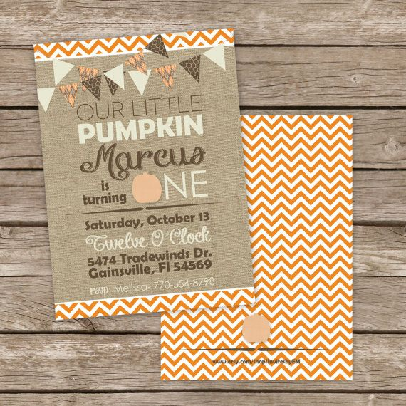 25 printed fall Halloween little pumpkin birthday party invitations Burlap and chevron design