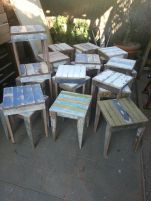 distressed timber stools