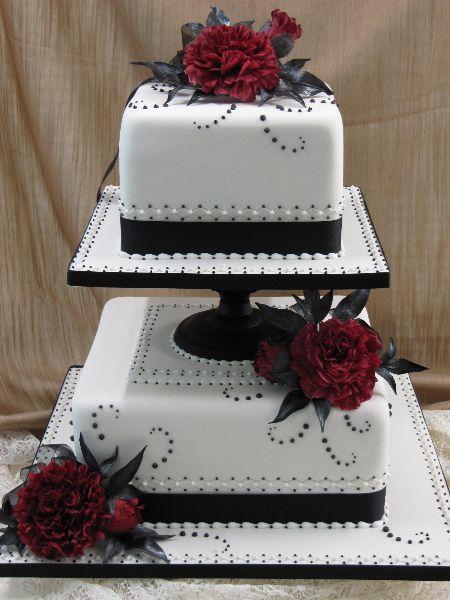 Gothic Black & Red  Wedding Cake