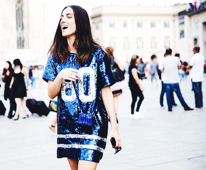 Perfect Sunday football attire: sequin jersey dress.