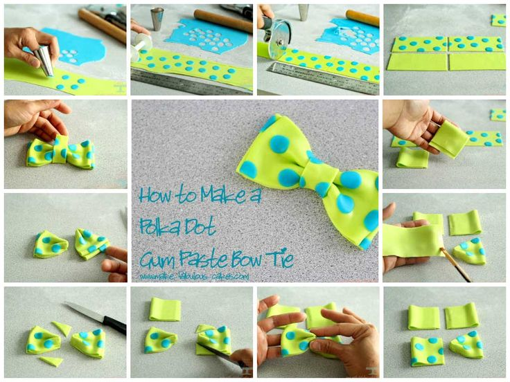Cute: How to make a polka dot gumpaste bow. Great technique for lots of gumpaste decorations.