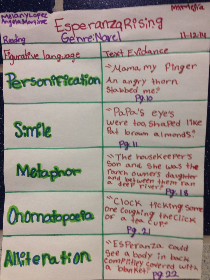 Novel: Esperanza Rising  Skill: Figurative language and text evidence