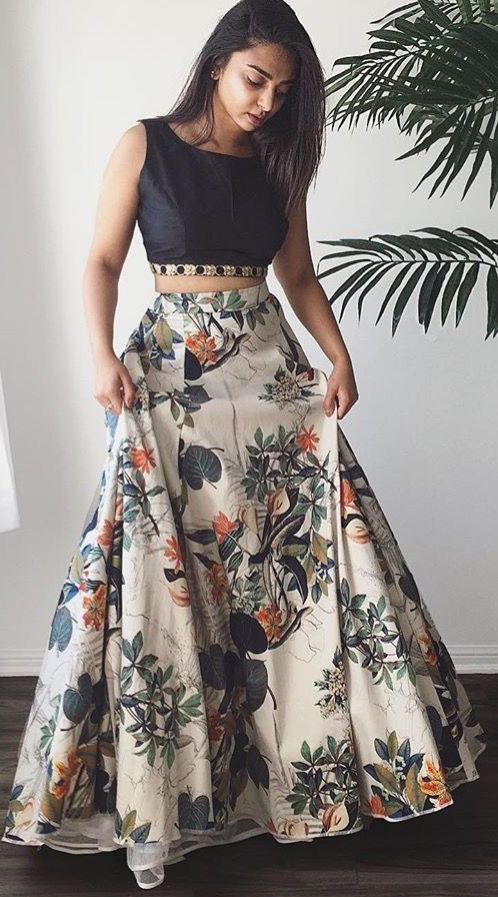 Crop Top Floral Lehenga. Good for Casual wear. Women's Lehenga Choli