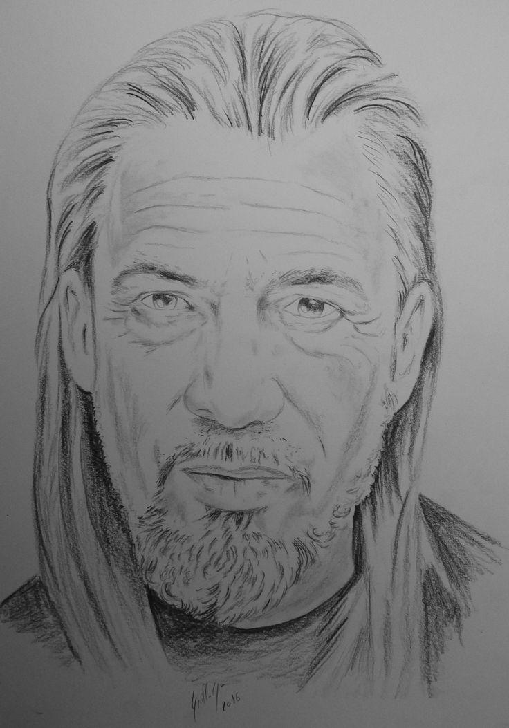 Florent Pagny. Portrait au fusain