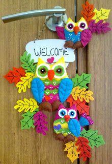 felt owls door ornament