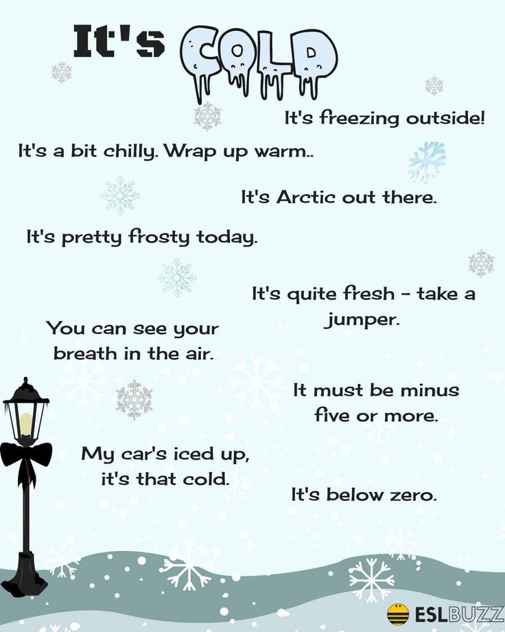 Useful phrases describing COLD WEATHER, HOT WEATHER, RAINY WEATHER...
