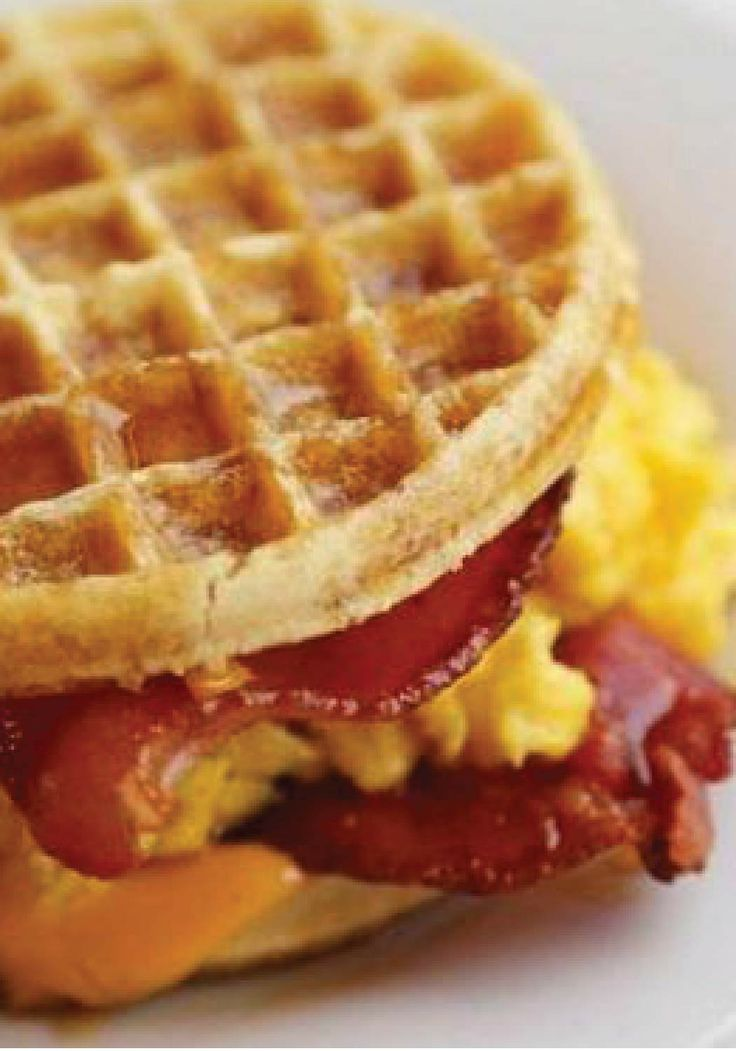 Eggo Sandwich with egg, bacon and cheese. Recipe courtesy of Joanne ...