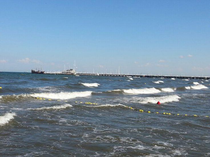 Long pier and waves at Sopot.