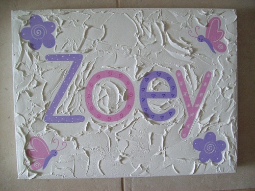Handpainted Girls name canvas  30cm x 40cm  $55- + postage  Custom made to suit individuals decor