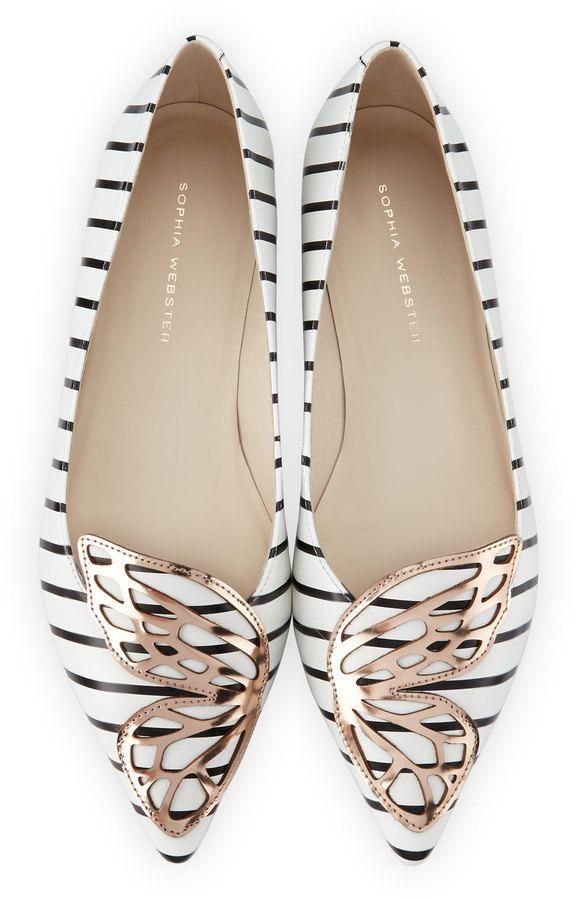 Sophia Webster Bibi Nautical-Stripe Butterfly Flat, Black/White